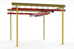 3D модель - Двухбалочный кран на опорном каркасе
